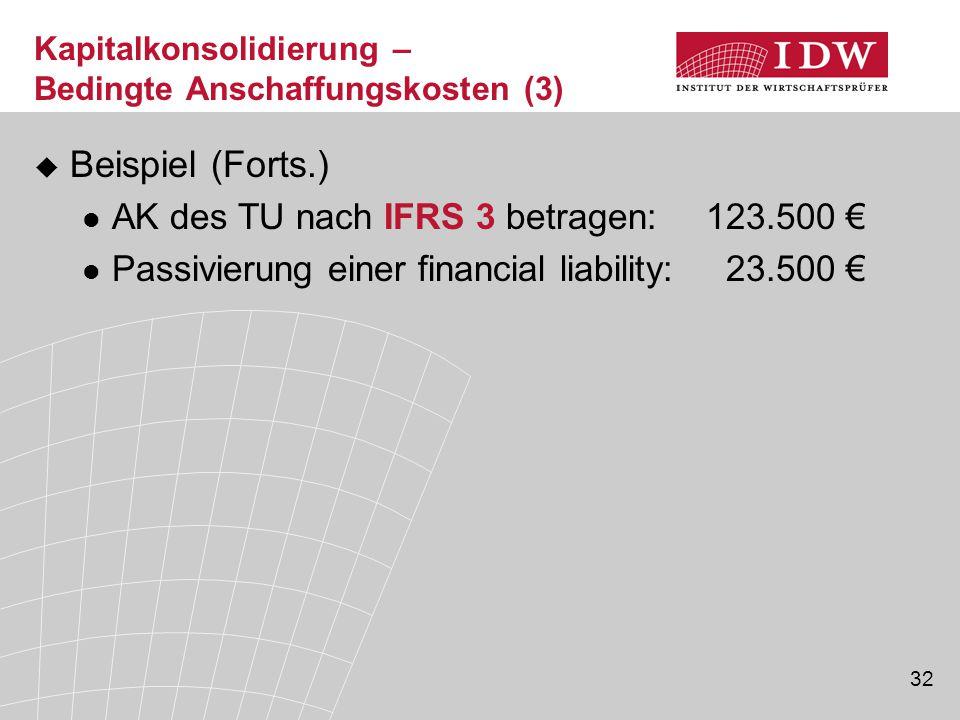 32  Beispiel (Forts.) AK des TU nach IFRS 3 betragen: 123.500 € Passivierung einer financial liability: 23.500 € Kapitalkonsolidierung – Bedingte Ans