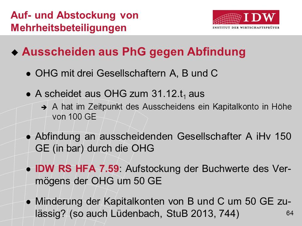 64 Auf- und Abstockung von Mehrheitsbeteiligungen  Ausscheiden aus PhG gegen Abfindung OHG mit drei Gesellschaftern A, B und C A scheidet aus OHG zum