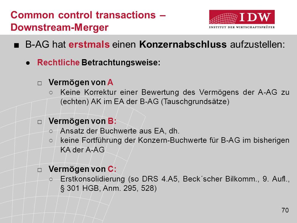 70 ■B-AG hat erstmals einen Konzernabschluss aufzustellen: ●Rechtliche Betrachtungsweise: □Vermögen von A ○Keine Korrektur einer Bewertung des Vermöge