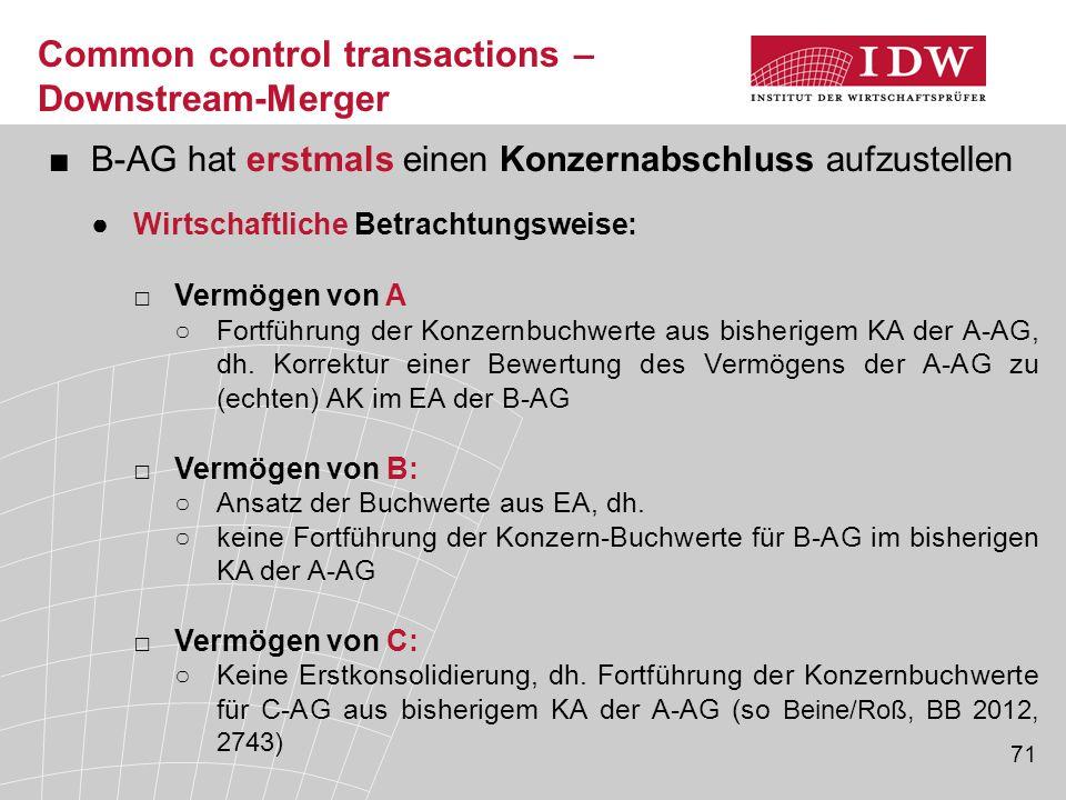 71 ■B-AG hat erstmals einen Konzernabschluss aufzustellen ●Wirtschaftliche Betrachtungsweise: □Vermögen von A ○Fortführung der Konzernbuchwerte aus bi