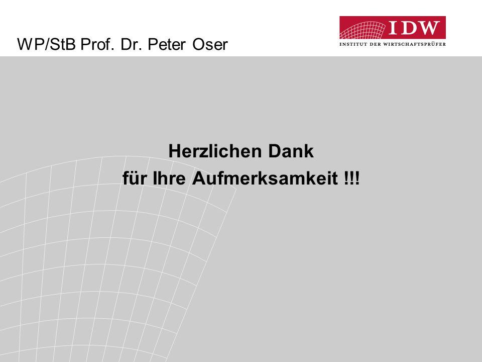 Herzlichen Dank für Ihre Aufmerksamkeit !!! WP/StB Prof. Dr. Peter Oser