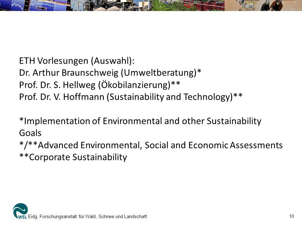 10 Eidg. Forschungsanstalt für Wald, Schnee und Landschaft ETH Vorlesungen (Auswahl): Dr.