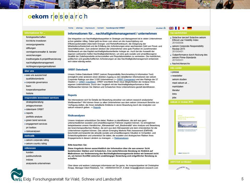 5 Eidg. Forschungsanstalt für Wald, Schnee und Landschaft