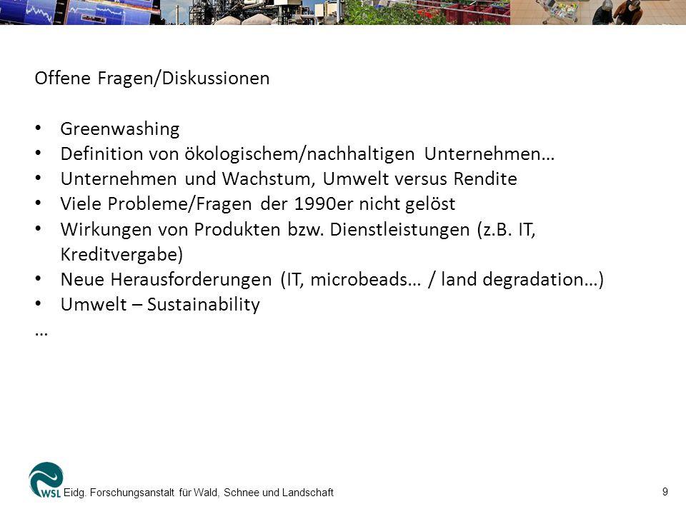 10 Eidg.Forschungsanstalt für Wald, Schnee und Landschaft ETH Vorlesungen (Auswahl): Dr.