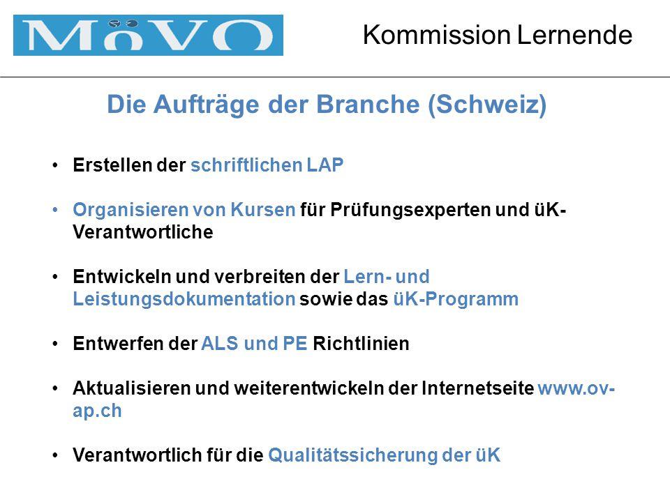 Die Aufträge der Branche (Schweiz) Erstellen der schriftlichen LAP Organisieren von Kursen für Prüfungsexperten und üK- Verantwortliche Entwickeln und verbreiten der Lern- und Leistungsdokumentation sowie das üK-Programm Entwerfen der ALS und PE Richtlinien Aktualisieren und weiterentwickeln der Internetseite www.ov- ap.ch Verantwortlich für die Qualitätssicherung der üK
