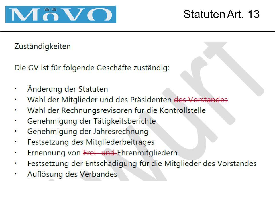 Statuten Art. 13