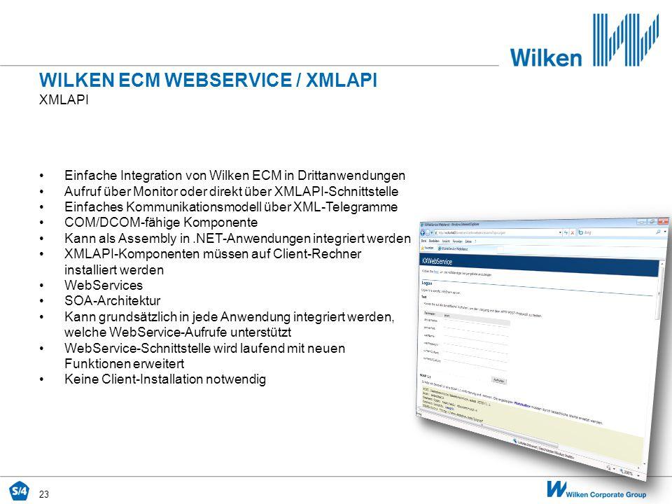 23 XMLAPI WILKEN ECM WEBSERVICE / XMLAPI Einfache Integration von Wilken ECM in Drittanwendungen Aufruf über Monitor oder direkt über XMLAPI-Schnittst