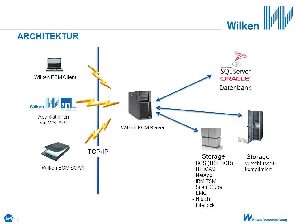 5 ARCHITEKTUR TCP/IP Wilken ECM Client Applikationen via WS, API Wilken ECM SCAN Wilken ECM Server Storage - verschlüsselt - komprimiert Storage - BOS
