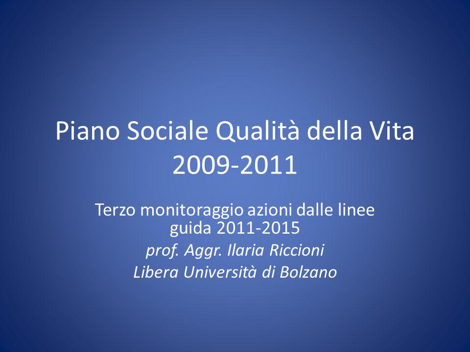 Piano Sociale Qualità della Vita 2009-2011 Terzo monitoraggio azioni dalle linee guida 2011-2015 prof. Aggr. Ilaria Riccioni Libera Università di Bolz