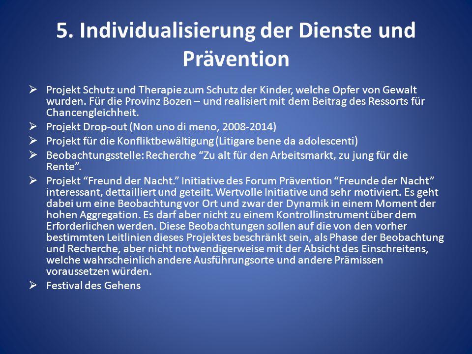 5. Individualisierung der Dienste und Prävention  Projekt Schutz und Therapie zum Schutz der Kinder, welche Opfer von Gewalt wurden. Für die Provinz