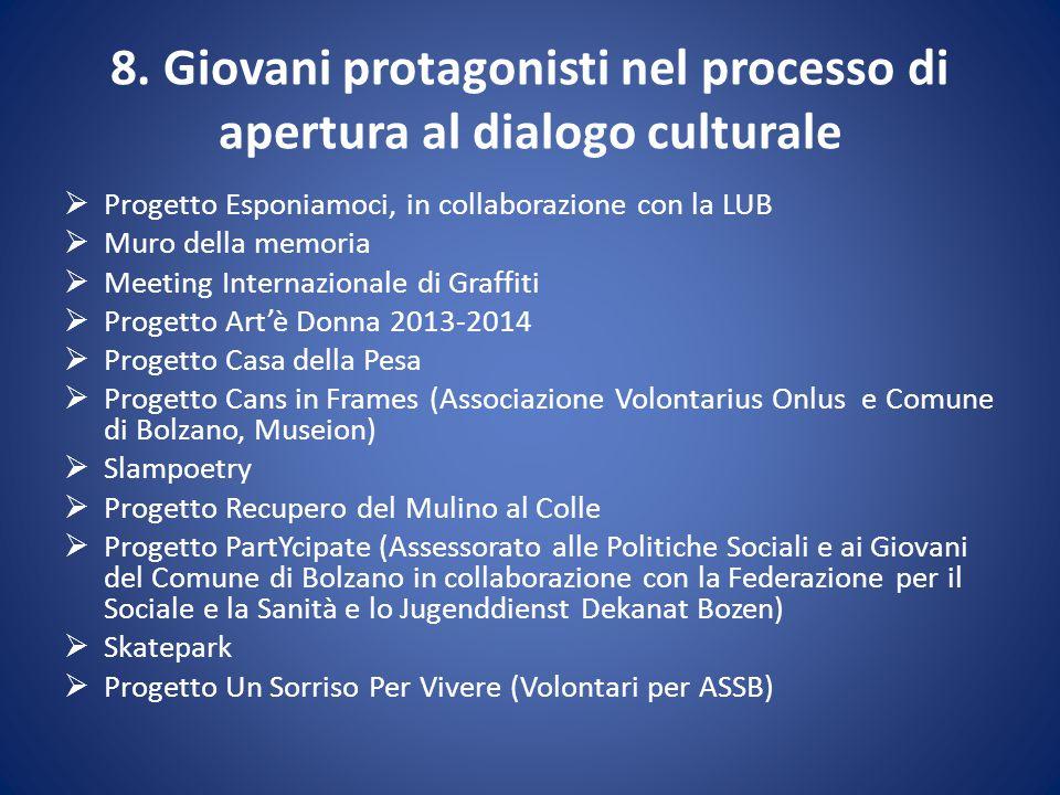 8. Giovani protagonisti nel processo di apertura al dialogo culturale  Progetto Esponiamoci, in collaborazione con la LUB  Muro della memoria  Meet