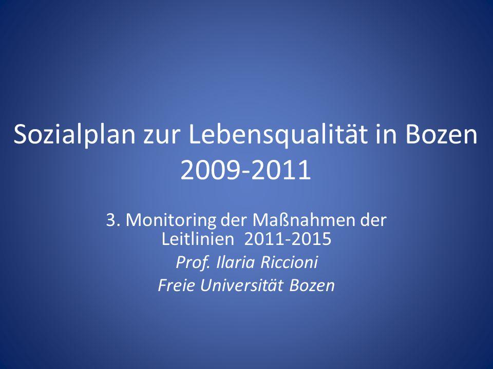 Sozialplan zur Lebensqualität in Bozen 2009-2011 3. Monitoring der Maßnahmen der Leitlinien 2011-2015 Prof. Ilaria Riccioni Freie Universität Bozen