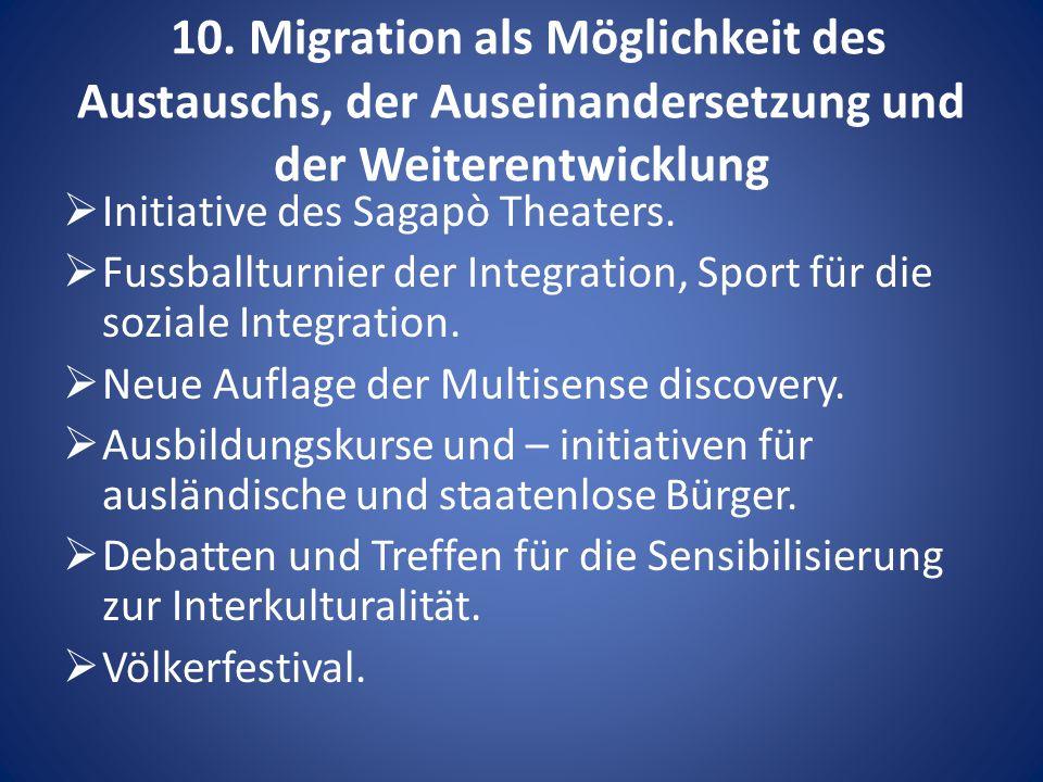 10. Migration als Möglichkeit des Austauschs, der Auseinandersetzung und der Weiterentwicklung  Initiative des Sagapò Theaters.  Fussballturnier der