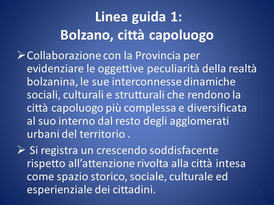 Linea guida 1: Bolzano, città capoluogo  Collaborazione con la Provincia per evidenziare le oggettive peculiarità della realtà bolzanina, le sue inte