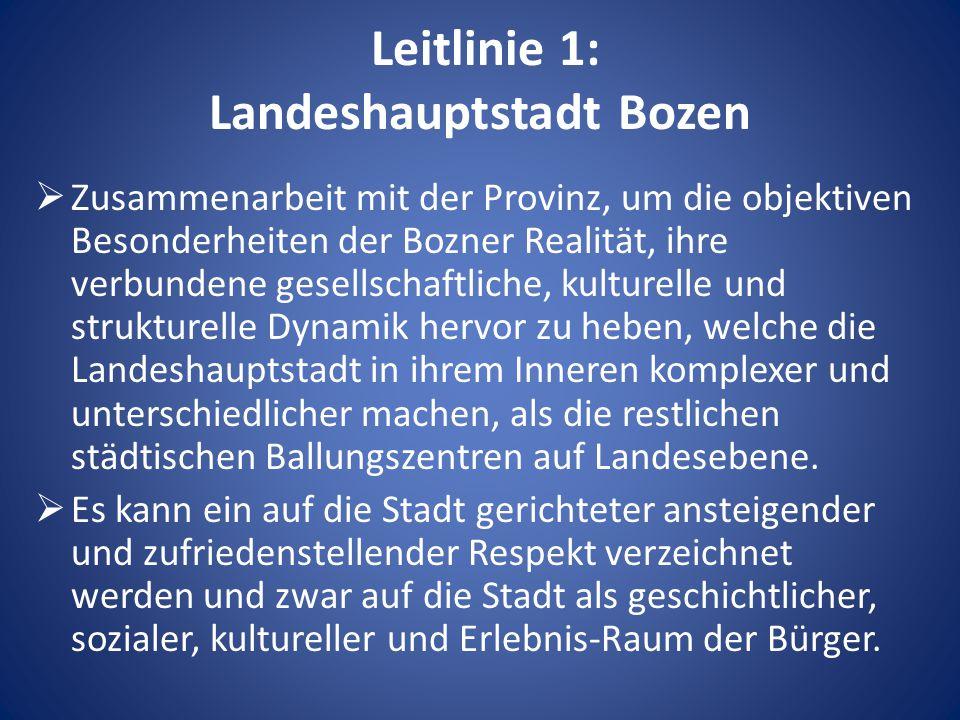 Leitlinie 1: Landeshauptstadt Bozen  Zusammenarbeit mit der Provinz, um die objektiven Besonderheiten der Bozner Realität, ihre verbundene gesellschaftliche, kulturelle und strukturelle Dynamik hervor zu heben, welche die Landeshauptstadt in ihrem Inneren komplexer und unterschiedlicher machen, als die restlichen städtischen Ballungszentren auf Landesebene.