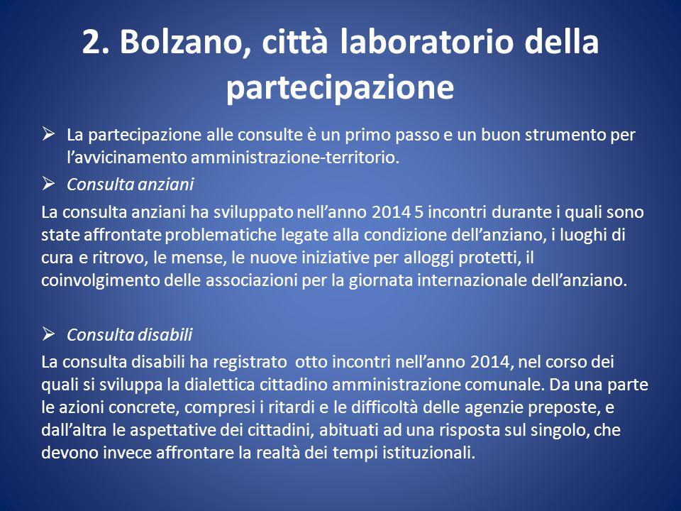 2. Bolzano, città laboratorio della partecipazione  La partecipazione alle consulte è un primo passo e un buon strumento per l'avvicinamento amminist
