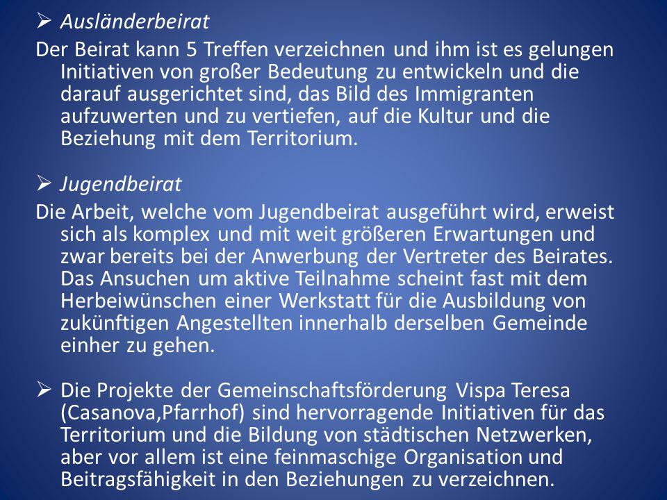  Ausländerbeirat Der Beirat kann 5 Treffen verzeichnen und ihm ist es gelungen Initiativen von großer Bedeutung zu entwickeln und die darauf ausgerichtet sind, das Bild des Immigranten aufzuwerten und zu vertiefen, auf die Kultur und die Beziehung mit dem Territorium.