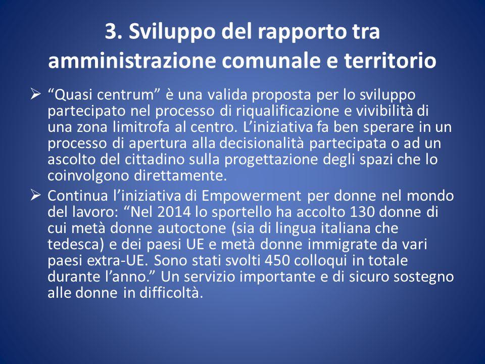 """3. Sviluppo del rapporto tra amministrazione comunale e territorio  """"Quasi centrum"""" è una valida proposta per lo sviluppo partecipato nel processo di"""