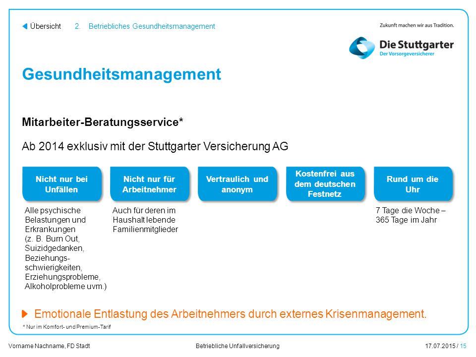 Betriebliche Unfallversicherung17.07.2015 / 15 Vorname Nachname, FD Stadt Übersicht Gesundheitsmanagement Ab 2014 exklusiv mit der Stuttgarter Versich