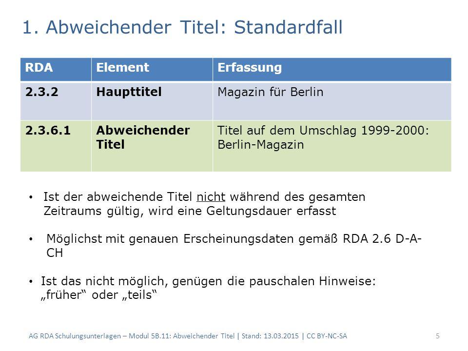 AG RDA Schulungsunterlagen – Modul 5B.11: Abweichender Titel | Stand: 13.03.2015 | CC BY-NC-SA5 RDAElementErfassung 2.3.2HaupttitelMagazin für Berlin 2.3.6.1Abweichender Titel Titel auf dem Umschlag 1999-2000: Berlin-Magazin 1.