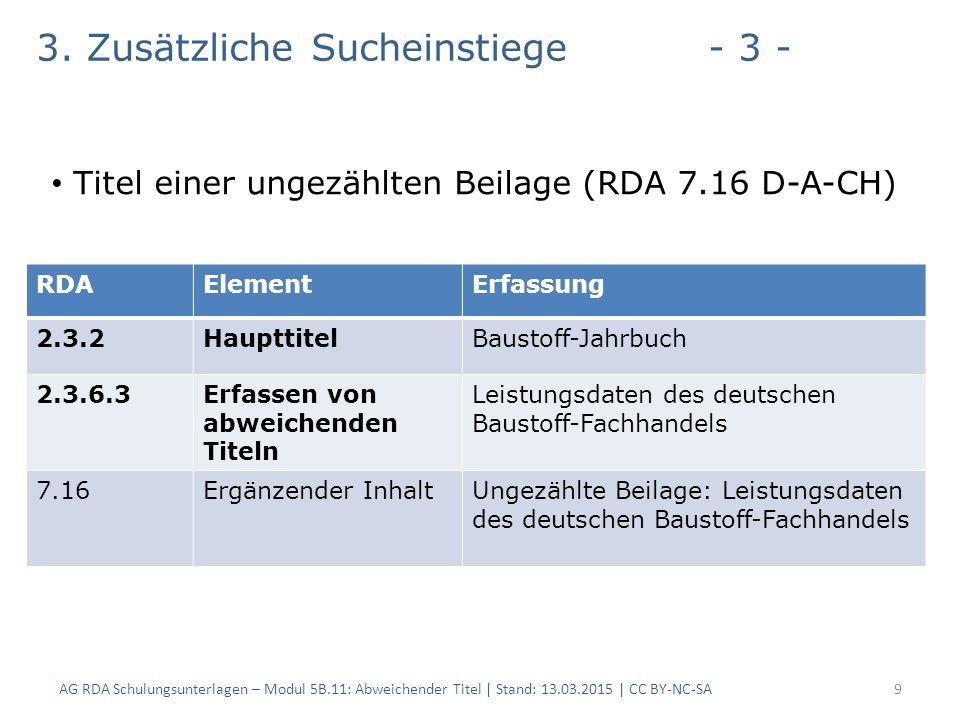AG RDA Schulungsunterlagen – Modul 5B.11: Abweichender Titel | Stand: 13.03.2015 | CC BY-NC-SA9 RDAElementErfassung 2.3.2HaupttitelBaustoff-Jahrbuch 2.3.6.3Erfassen von abweichenden Titeln Leistungsdaten des deutschen Baustoff-Fachhandels 7.16Ergänzender InhaltUngezählte Beilage: Leistungsdaten des deutschen Baustoff-Fachhandels 3.