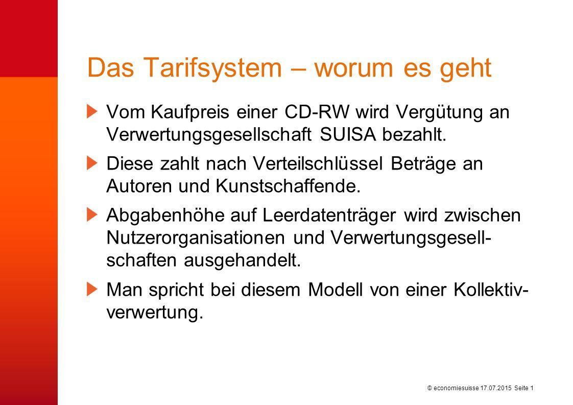 © economiesuisse Das Tarifsystem – worum es geht Vom Kaufpreis einer CD-RW wird Vergütung an Verwertungsgesellschaft SUISA bezahlt.