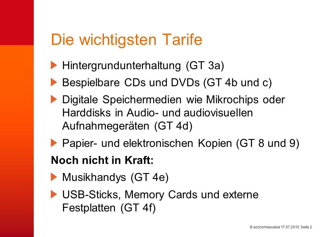 © economiesuisse Die wichtigsten Tarife Hintergrundunterhaltung (GT 3a) Bespielbare CDs und DVDs (GT 4b und c) Digitale Speichermedien wie Mikrochips oder Harddisks in Audio- und audiovisuellen Aufnahmegeräten (GT 4d) Papier- und elektronischen Kopien (GT 8 und 9) Noch nicht in Kraft: Musikhandys (GT 4e) USB-Sticks, Memory Cards und externe Festplatten (GT 4f) 17.07.2015 Seite 2