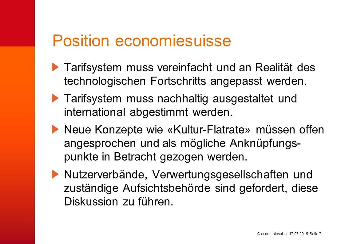 © economiesuisse Position economiesuisse Tarifsystem muss vereinfacht und an Realität des technologischen Fortschritts angepasst werden.