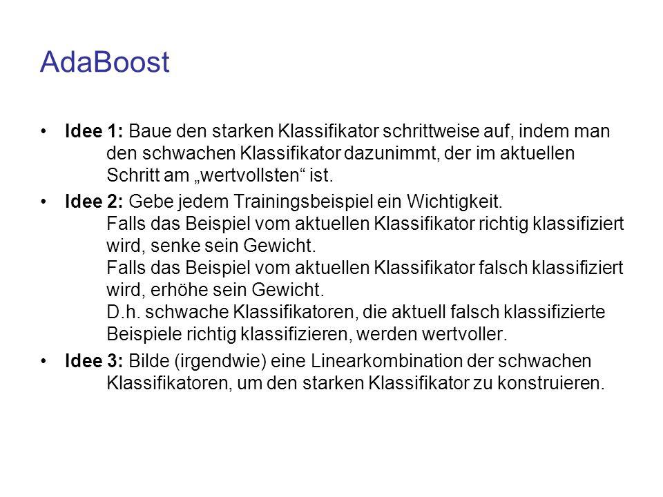 """AdaBoost Idee 1: Baue den starken Klassifikator schrittweise auf, indem man den schwachen Klassifikator dazunimmt, der im aktuellen Schritt am """"wertvo"""