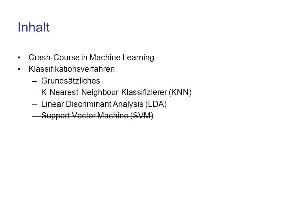 Inhalt Crash-Course in Machine Learning Klassifikationsverfahren –Grundsätzliches –K-Nearest-Neighbour-Klassifizierer (KNN) –Linear Discriminant Analy