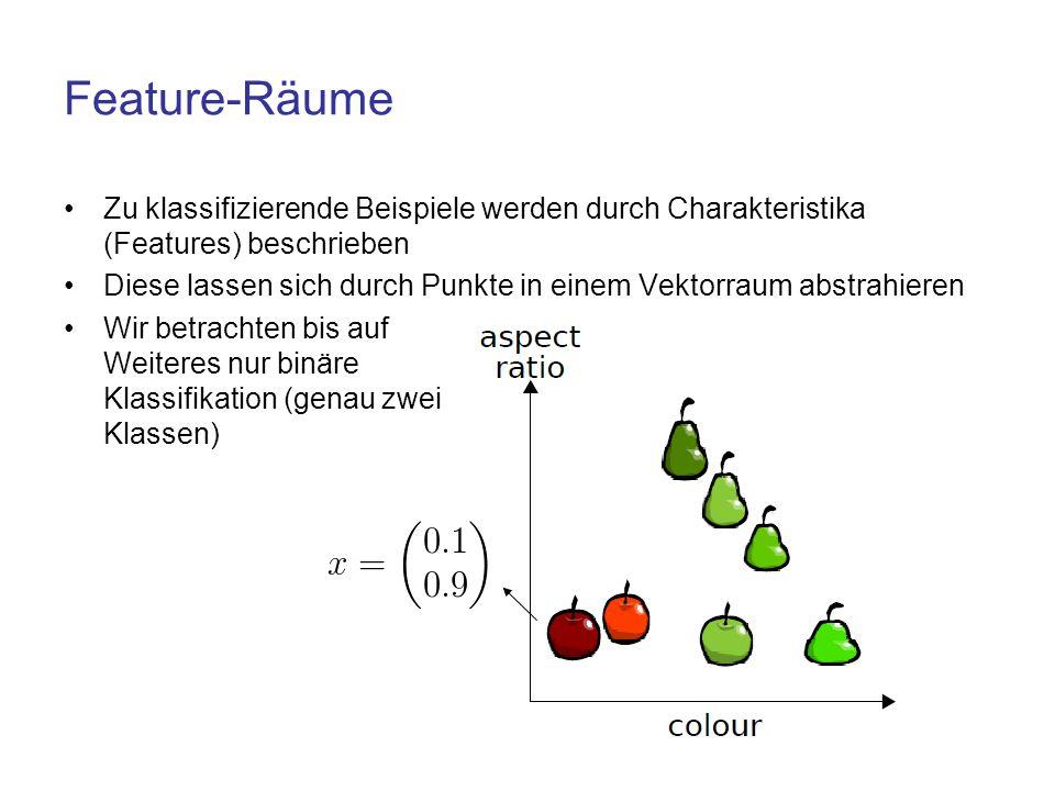 Feature-Räume Zu klassifizierende Beispiele werden durch Charakteristika (Features) beschrieben Diese lassen sich durch Punkte in einem Vektorraum abs