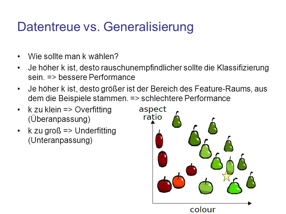 Datentreue vs. Generalisierung Wie sollte man k wählen? Je höher k ist, desto rauschunempfindlicher sollte die Klassifizierung sein. => bessere Perfor
