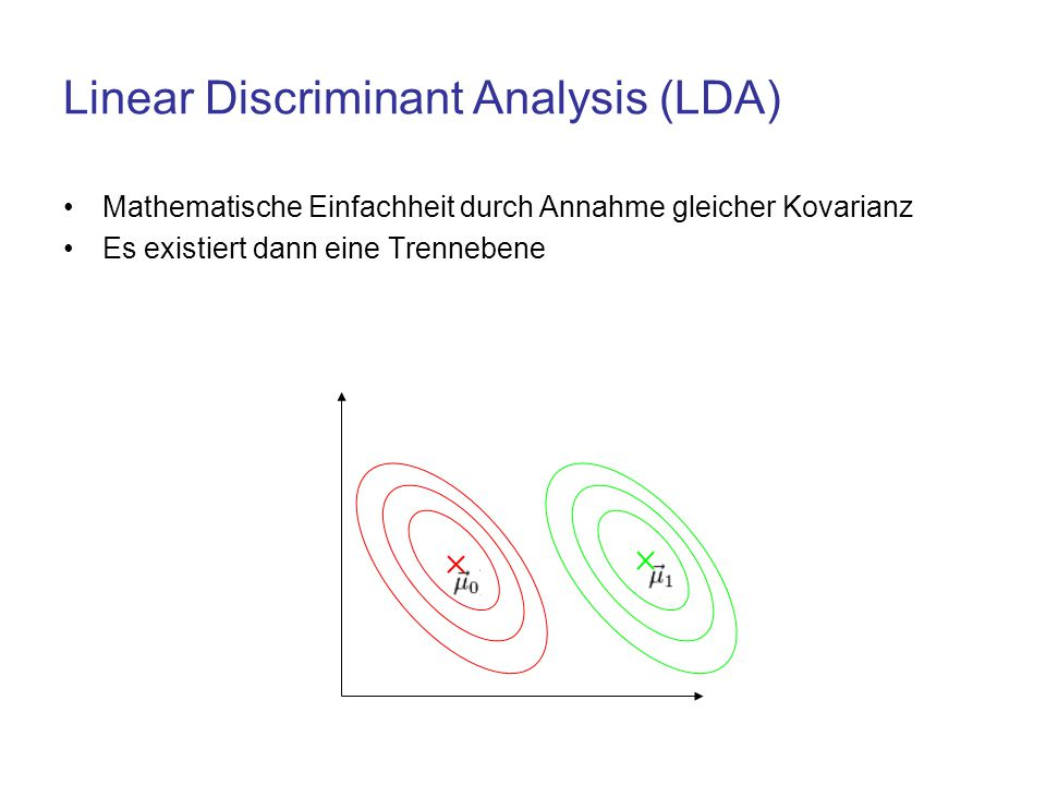 Linear Discriminant Analysis (LDA) Mathematische Einfachheit durch Annahme gleicher Kovarianz Es existiert dann eine Trennebene