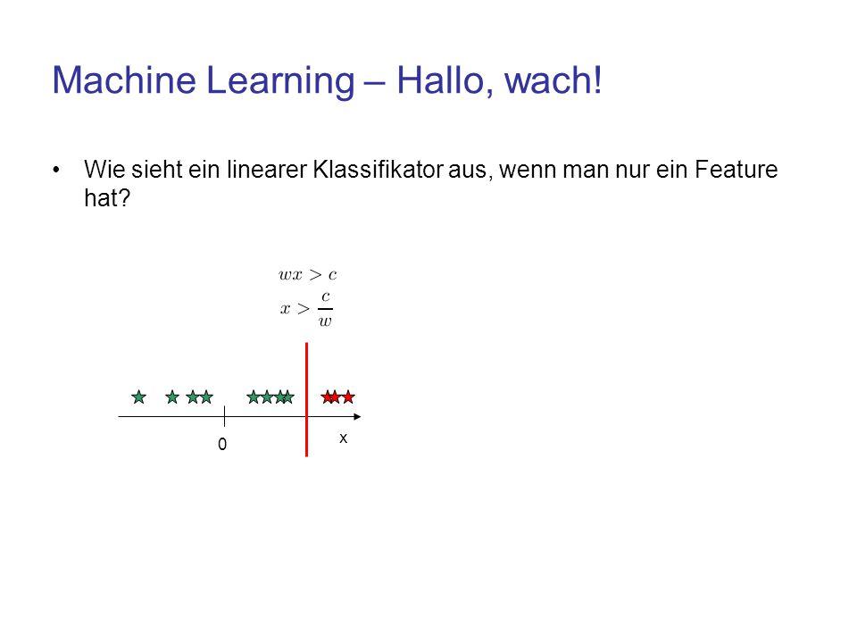 Machine Learning – Hallo, wach! Wie sieht ein linearer Klassifikator aus, wenn man nur ein Feature hat? 0 x