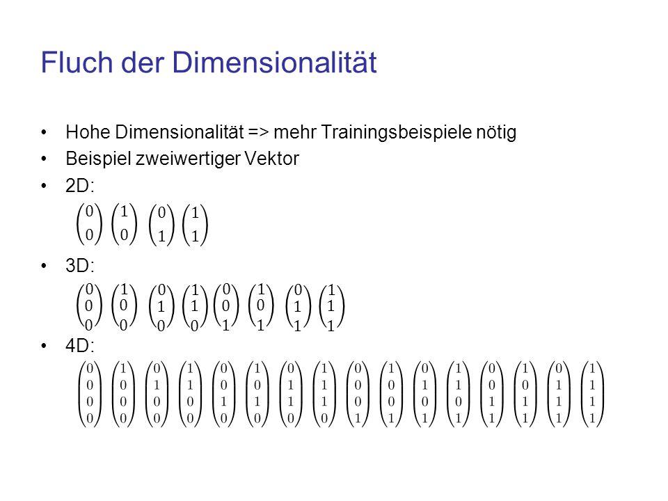 Fluch der Dimensionalität Hohe Dimensionalität => mehr Trainingsbeispiele nötig Beispiel zweiwertiger Vektor 2D: 3D: 4D: