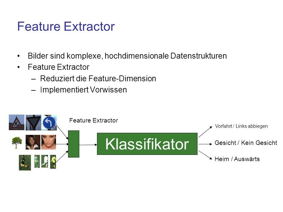 Feature Extractor Bilder sind komplexe, hochdimensionale Datenstrukturen Feature Extractor –Reduziert die Feature-Dimension –Implementiert Vorwissen K