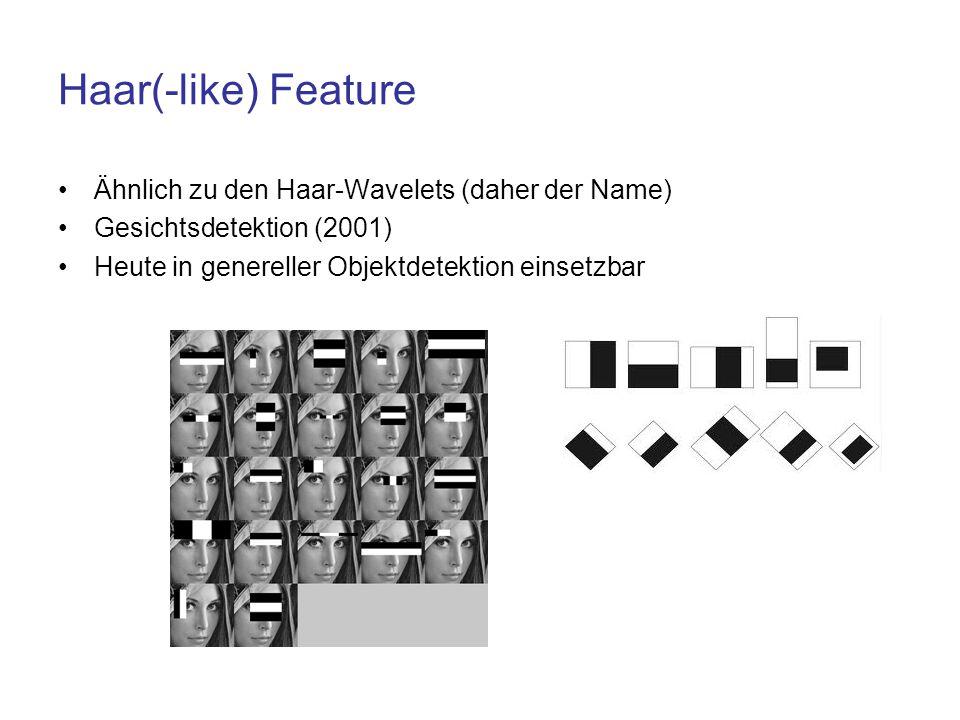 Haar(-like) Feature Ähnlich zu den Haar-Wavelets (daher der Name) Gesichtsdetektion (2001) Heute in genereller Objektdetektion einsetzbar