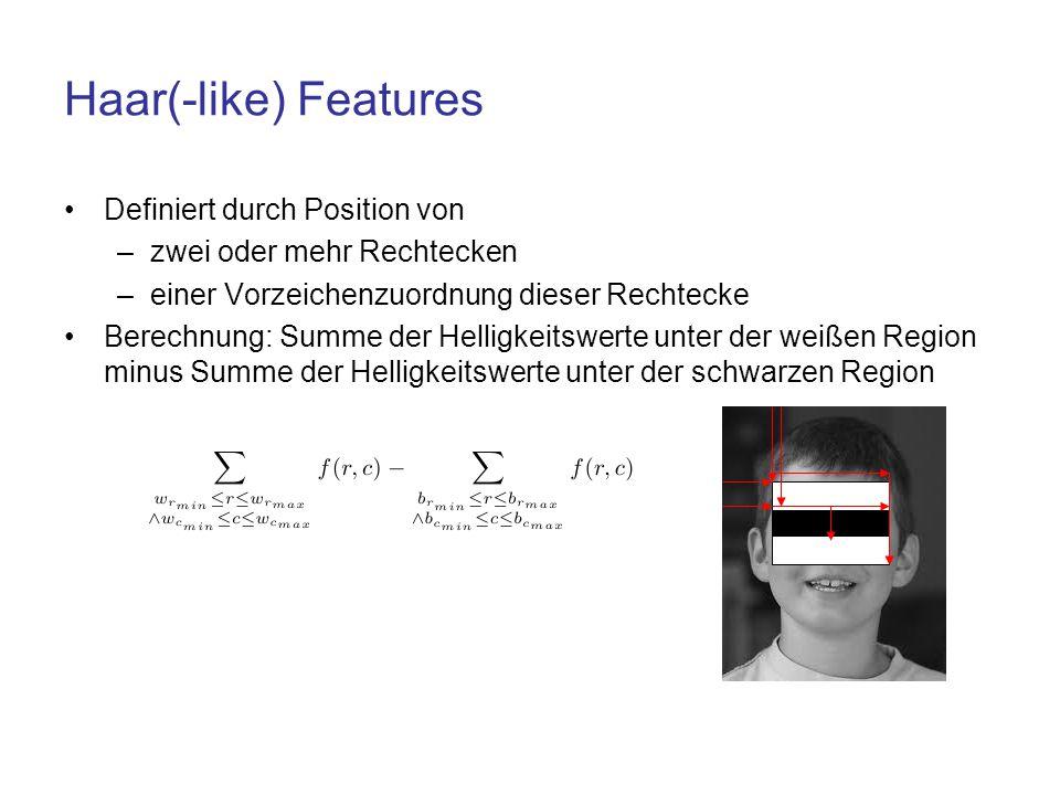 Haar(-like) Features Definiert durch Position von –zwei oder mehr Rechtecken –einer Vorzeichenzuordnung dieser Rechtecke Berechnung: Summe der Helligk