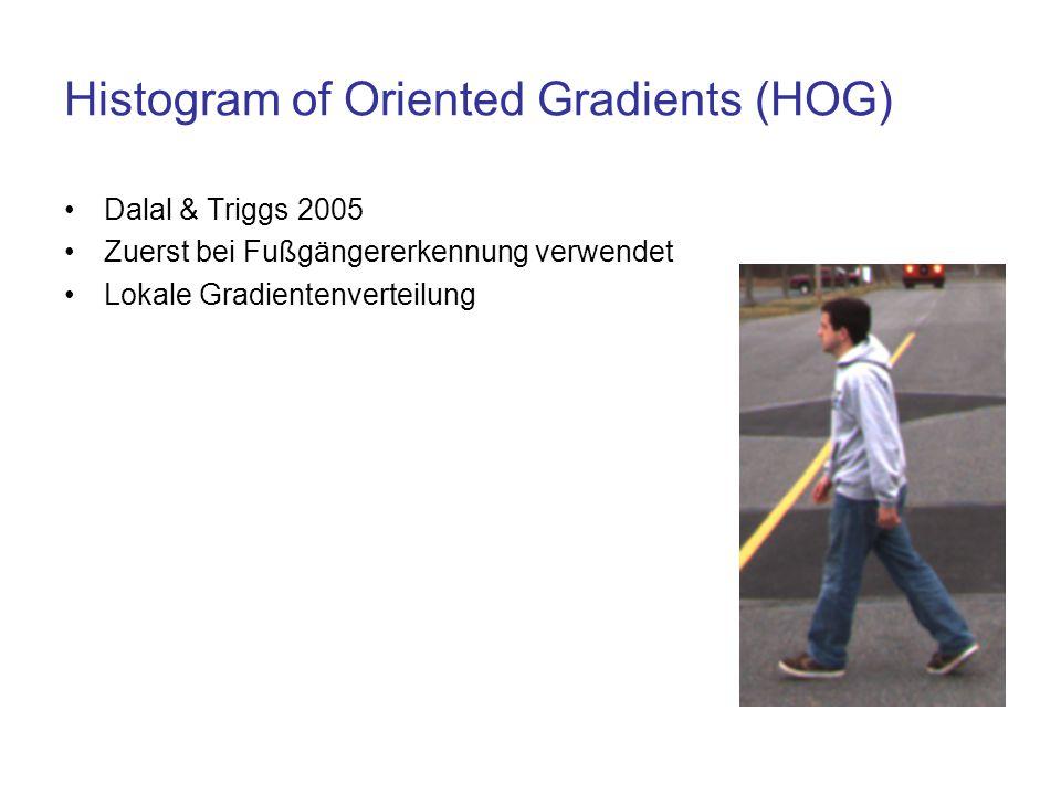 Histogram of Oriented Gradients (HOG) Dalal & Triggs 2005 Zuerst bei Fußgängererkennung verwendet Lokale Gradientenverteilung