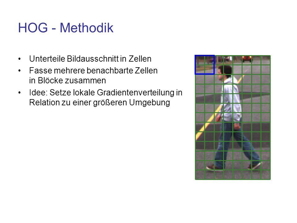 HOG - Methodik Unterteile Bildausschnitt in Zellen Fasse mehrere benachbarte Zellen in Blöcke zusammen Idee: Setze lokale Gradientenverteilung in Rela