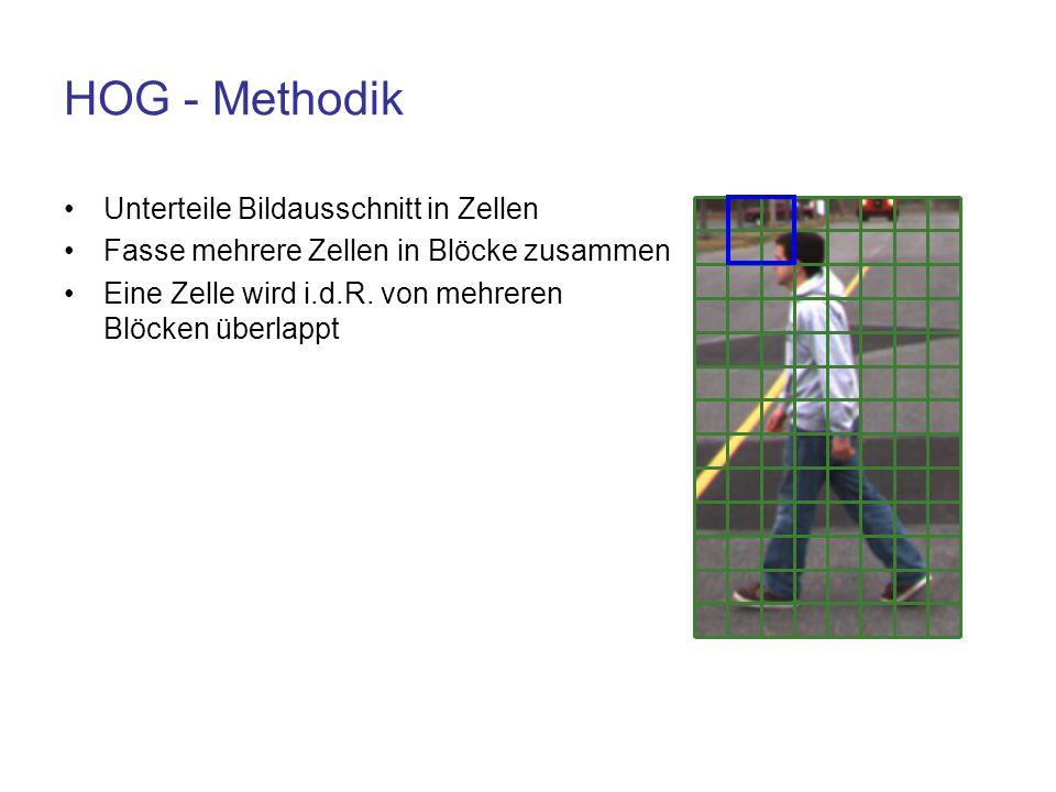 HOG - Methodik Unterteile Bildausschnitt in Zellen Fasse mehrere Zellen in Blöcke zusammen Eine Zelle wird i.d.R. von mehreren Blöcken überlappt