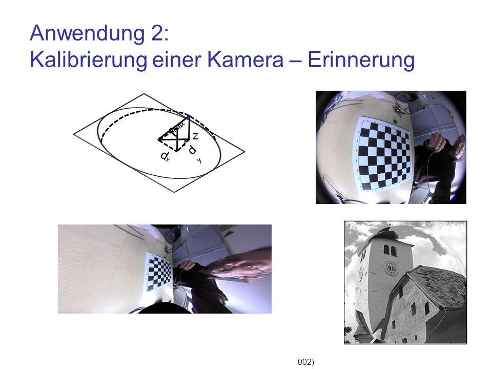 """Anwendung 2: Kalibrierung einer Kamera – Erinnerung Tamaki, Yamamur: """"Correcting Distortion of Image by Image Registration"""" (2002) dxdx z r max r dydy"""