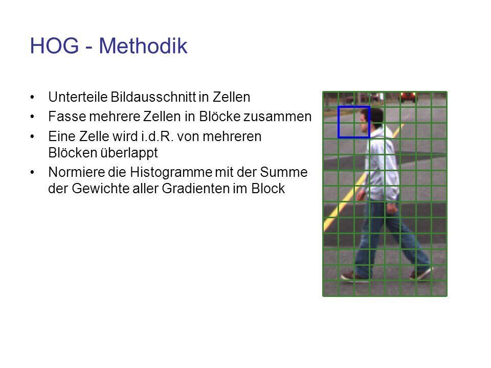 HOG - Methodik Unterteile Bildausschnitt in Zellen Fasse mehrere Zellen in Blöcke zusammen Eine Zelle wird i.d.R. von mehreren Blöcken überlappt Normi