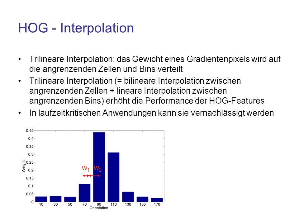 HOG - Interpolation Trilineare Interpolation: das Gewicht eines Gradientenpixels wird auf die angrenzenden Zellen und Bins verteilt Trilineare Interpo
