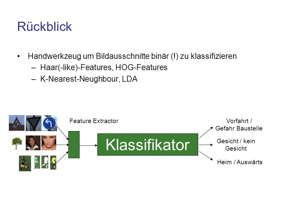 Rückblick Handwerkzeug um Bildausschnitte binär (!) zu klassifizieren –Haar(-like)-Features, HOG-Features –K-Nearest-Neughbour, LDA Klassifikator Vorf