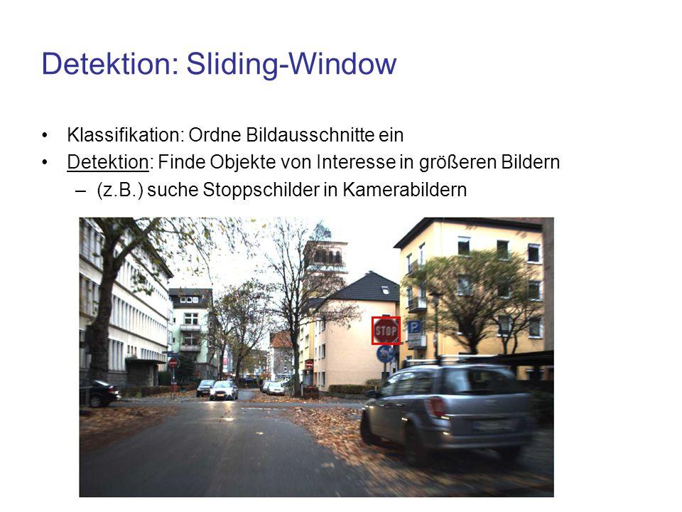 Detektion: Sliding-Window Klassifikation: Ordne Bildausschnitte ein Detektion: Finde Objekte von Interesse in größeren Bildern –(z.B.) suche Stoppschi