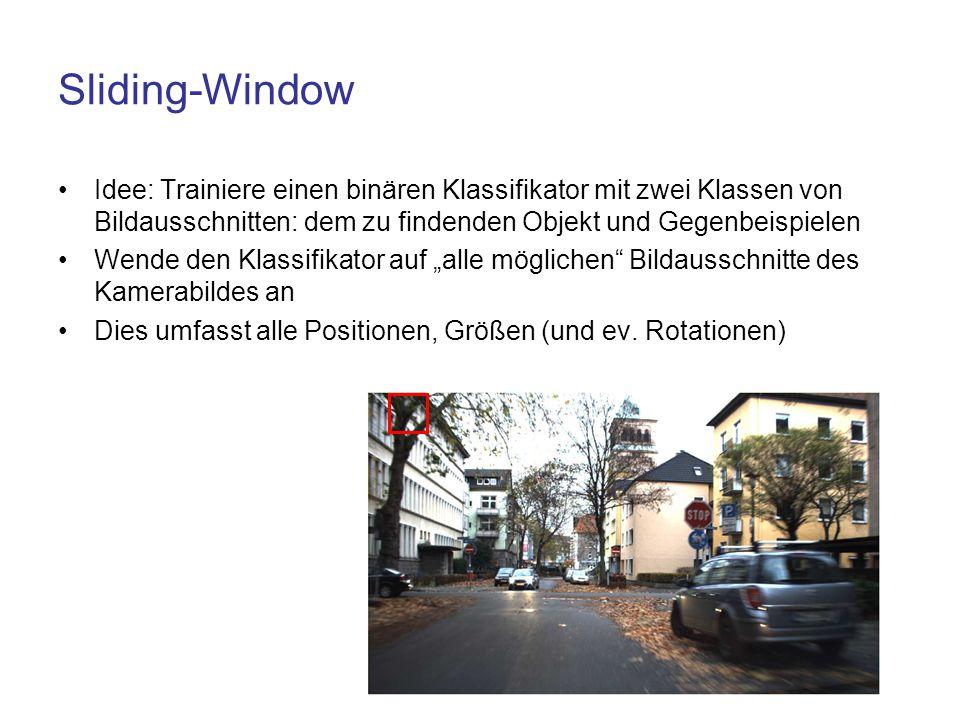 Sliding-Window Idee: Trainiere einen binären Klassifikator mit zwei Klassen von Bildausschnitten: dem zu findenden Objekt und Gegenbeispielen Wende de