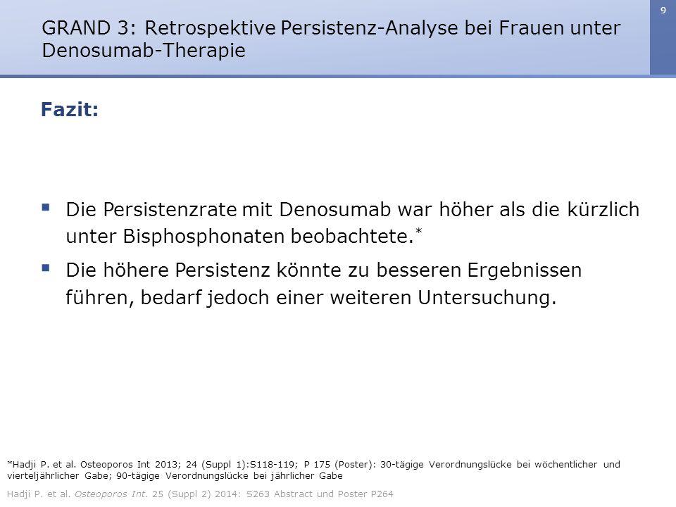 9 Fazit: GRAND 3: Retrospektive Persistenz-Analyse bei Frauen unter Denosumab-Therapie  Die Persistenzrate mit Denosumab war höher als die kürzlich u