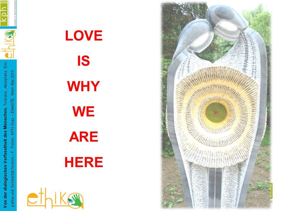 LOVE IS WHY WE ARE HERE Von der dialogischen Verfasstheit des Menschen.