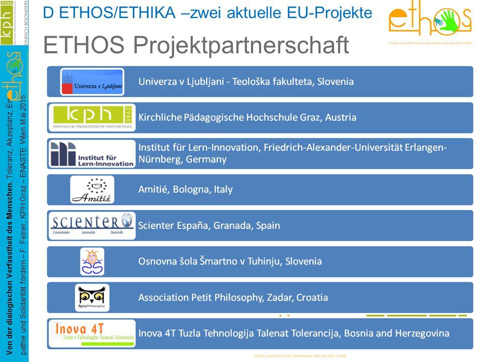 D ETHOS/ETHIKA –zwei aktuelle EU-Projekte ETHOS Projektpartnerschaft Von der dialogischen Verfasstheit des Menschen.
